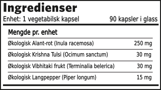 Herbal Supplements Åndedrett formel ingredienser