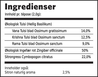 Tin Cans Tulsi sitron ingefær ingredienser