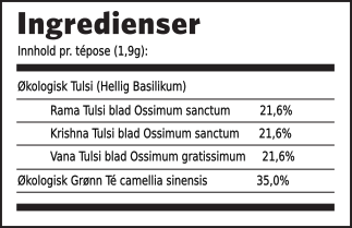 Tulsi grønn té ingredienser