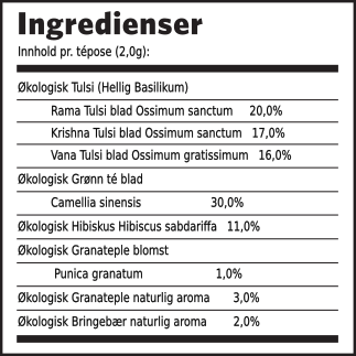 Tulsi granateple grønn té ingredienser