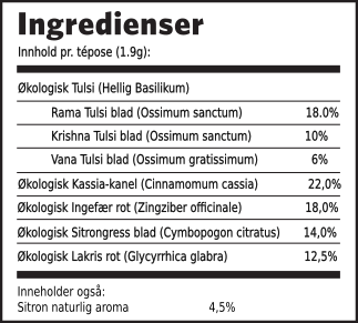 Tulsi lakris ingredienser