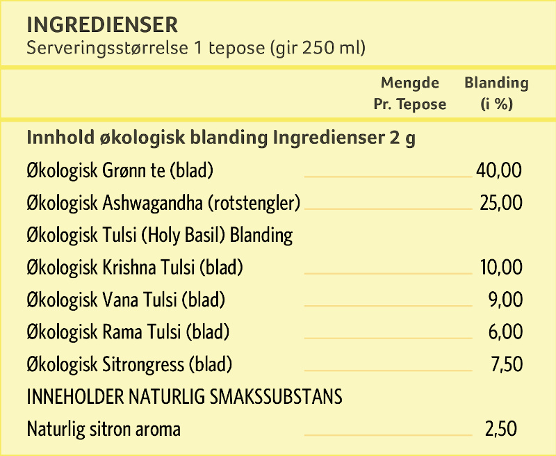 tulsi green tea ashwagandha ingredients